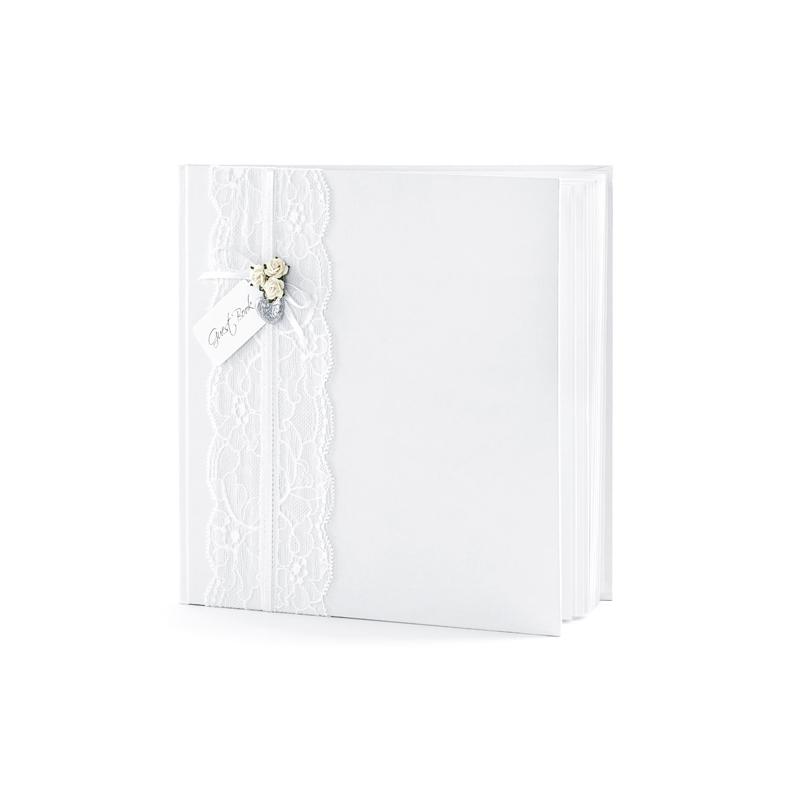 Csipkés Esküvői vendégkönyv - Fehér