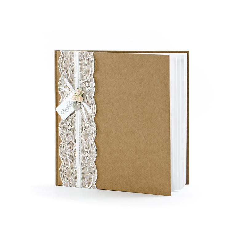 Csipkés Esküvői Vendégkönyv - Natúr